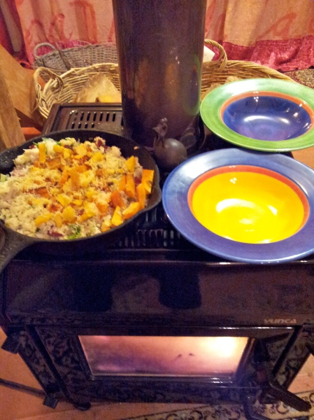 The burner warmed our plates and kept the frittata hot until we were ready to eat.
