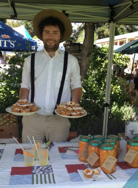 Gus makes apricot tarts for the Wanaka Vintage Fair - they sell out really quickly.